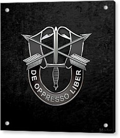 U. S.  Army Special Forces  -  Green Berets D U I Over Black Velvet Acrylic Print by Serge Averbukh