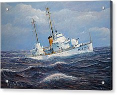 U. S. Coast Guard Cutter Sebago Takes A Roll Acrylic Print by William H RaVell III