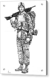 U S Marine Acrylic Print by Murphy Elliott