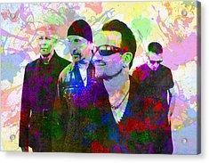 U2 Band Portrait Paint Splatters Pop Art Acrylic Print by Design Turnpike