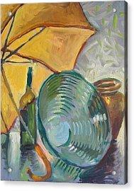 Umbrella And The Bottle Acrylic Print by Piotr Antonow