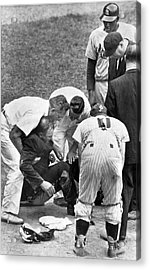 Umpire Down From Foul Tip Acrylic Print by Underwood Archives