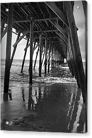 Under The Pier At Myrtle Beach Acrylic Print by Kelly Hazel