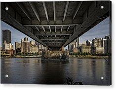 Under The Roberto Clemente Bridge Acrylic Print by Rick Berk