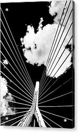 Underneath The Zakim Acrylic Print by Andrew Kubica