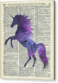 Unicorn In Space Acrylic Print by Jacob Kuch