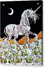 Unicorn Over Flower Field Acrylic Print by Carol  Law Conklin
