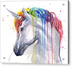 Unicorn Rainbow Watercolor Acrylic Print by Olga Shvartsur
