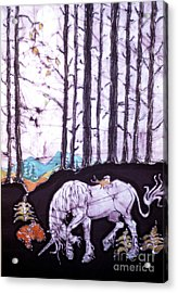 Unicorn Rests In The Forest With Fox And Bird Acrylic Print by Carol Law Conklin