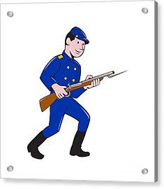 Union Army Soldier Bayonet Rifle Cartoon Acrylic Print by Aloysius Patrimonio