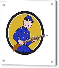 Union Army Soldier Bayonet Rifle Circle Cartoon Acrylic Print by Aloysius Patrimonio
