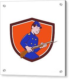 Union Army Soldier Bayonet Rifle Crest Cartoon Acrylic Print by Aloysius Patrimonio