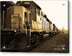 Union Pacific Locomotive Trains . 7d10588 . Sepia Acrylic Print by Wingsdomain Art and Photography