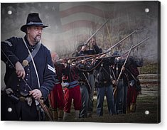 Union Soldier Reenactors Acrylic Print by Randall Nyhof