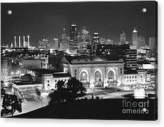 Union Station In Black And White Acrylic Print by Crystal Nederman