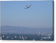 United Airlines Boeing 747 Over The San Francisco Bay At Fleet Week . 7d7860 Acrylic Print by Wingsdomain Art and Photography