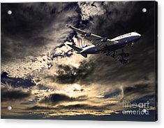 United Airlines . Flying The Friendly Skies Acrylic Print by Wingsdomain Art and Photography
