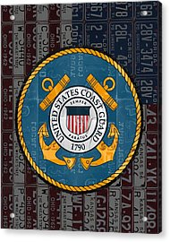 United States Coast Guard Logo Recycled Vintage License Plate Art Acrylic Print by Design Turnpike
