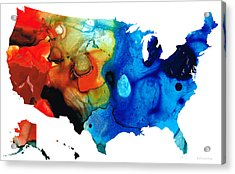 United States Of America Map 4 - Colorful Usa Acrylic Print by Sharon Cummings