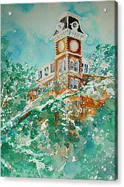 Ice On Old Main Acrylic Print by Robin Miller-Bookhout
