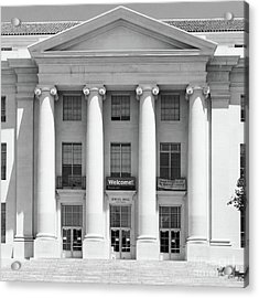 University Of California Berkeley Historic Sproul Hall At Sproul Plaza Dsc4081 Square Bw Acrylic Print by Wingsdomain Art and Photography