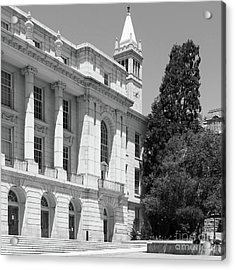 University Of California Berkeley Ide Wheeler Hall South Hall And The Campanile Dsc4066 Sq Bw Acrylic Print by Wingsdomain Art and Photography