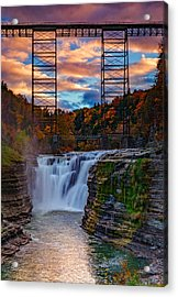 Upper Falls Letchworth State Park Acrylic Print by Rick Berk