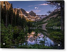 Upper Slate Lake Evening Glow Acrylic Print by Michael J Bauer
