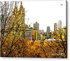 Urban Autumn In Nyc Acrylic Print by Linda  Parker