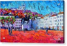 Urban Impression - Bellecour Square In Lyon France Acrylic Print by Mona Edulesco