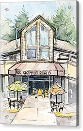 Coffee Shop Watercolor Sketch Acrylic Print by Olga Shvartsur