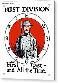 Us Army First Division - Ww1 Acrylic Print by War Is Hell Store