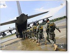 U.s. Army Rangers Board A U.s. Air Acrylic Print by Stocktrek Images