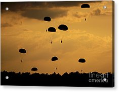 U.s. Army Soldiers Parachute Acrylic Print by Stocktrek Images