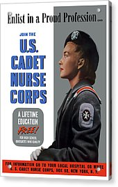 Us Cadet Nurse Corps - Ww2 Acrylic Print by War Is Hell Store