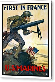 Us Marines - First In France Acrylic Print by War Is Hell Store