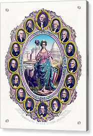 Us Presidents And Lady Liberty  Acrylic Print by War Is Hell Store