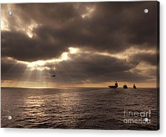 U.s. Ships Participate In An Replenishment At Sea Acrylic Print by Celestial Images