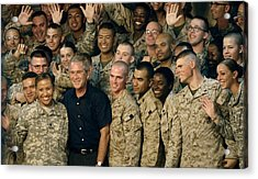 Us Soldiers Gather Around President Acrylic Print by Everett