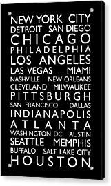 Usa Cities Bus Roll Acrylic Print by Michael Tompsett