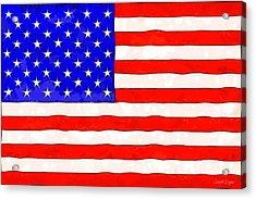 Usa Flag  - Van Gogh Style -  - Da Acrylic Print by Leonardo Digenio
