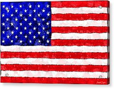 Usa Flag  - Wax Style -  - Pa Acrylic Print by Leonardo Digenio