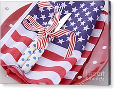 Usa Party Table Place Setting With Flag On White Wood Table.  Acrylic Print by Milleflore Images