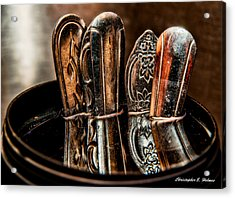 Utensils Reflected Acrylic Print by Christopher Holmes
