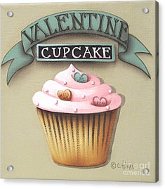 Valentine Cupcake Small Acrylic Print by Catherine Holman