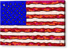 Van Gogh.s Starry American Flag Acrylic Print by Wingsdomain Art and Photography