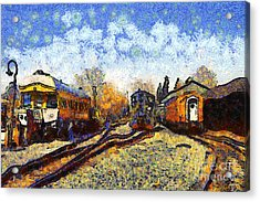 Van Gogh.s Train Station 7d11513 Acrylic Print by Wingsdomain Art and Photography