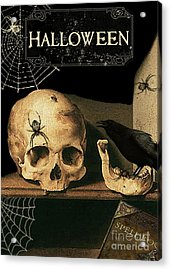 Vanitas Skull And Raven Acrylic Print by Striped Stockings Studio
