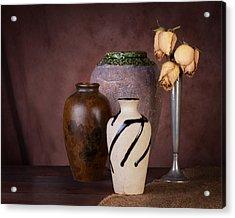 Vase And Roses Still Life Acrylic Print by Tom Mc Nemar