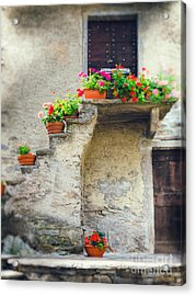 Vases With Flowers On Stairs Acrylic Print by Silvia Ganora